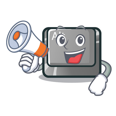With megaphone alt button in the cartoon shape vector illustration