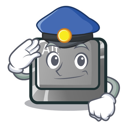 Police alt button in the cartoon shape vector illustration