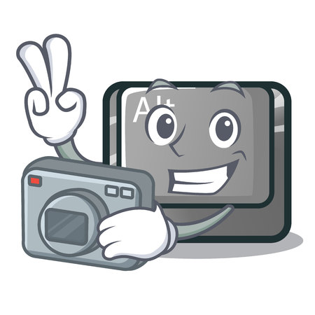 Photographer alt character button attached the keyboard vector illustration