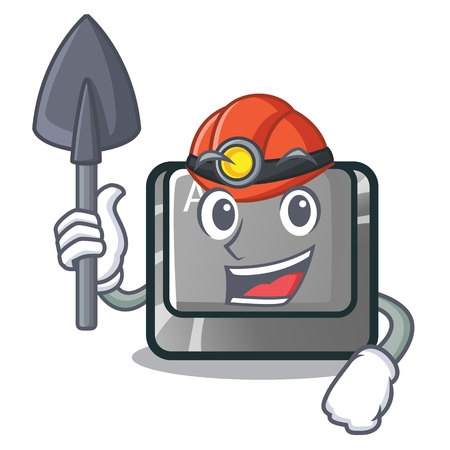 Miner alt character button attached the keyboard vector illustration