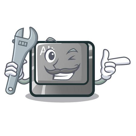 Mechanic cartoon alt button on the table vector illustration