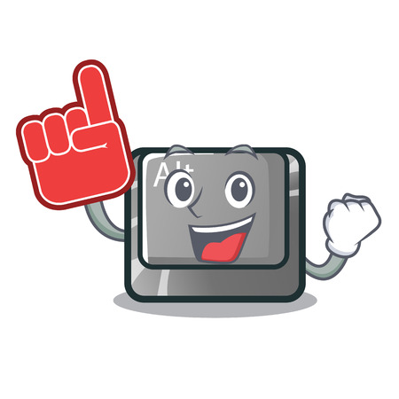 Foam finger cartoon alt button on the table vector illustration