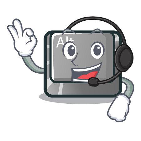 With headphone cartoon alt button on the table vector illustration