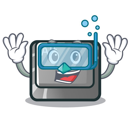 Diving alt button isolated with the mascot vector illustration Ilustrace