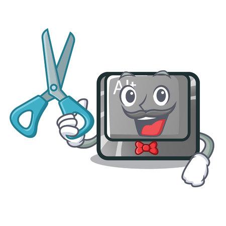 Barber alt button in the cartoon shape vector illustration Stock Vector - 124091770