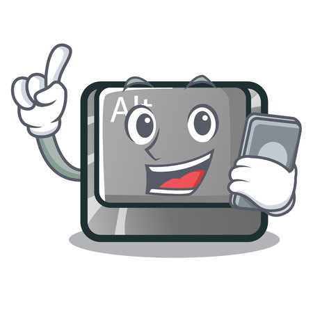 With phone alt button in the cartoon shape vector illustration Stock Vector - 124091775