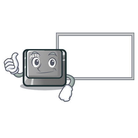 Thumbs up with board alt button in the cartoon shape vector illustration Stock Vector - 124091782