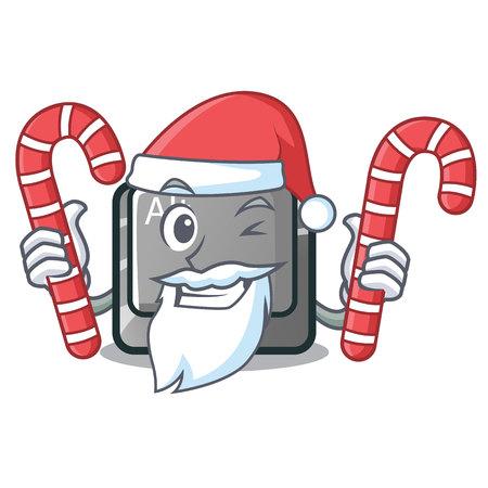 Santa with candy cartoon alt button on the table vector illustration