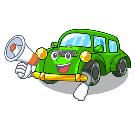 With megaphone classic car isolated in the cartoon vector illustration