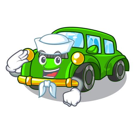Sailor classic car isolated in the cartoon vector illustration