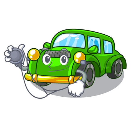 Doctor classic car isolated in the cartoon vector illustration Illustration
