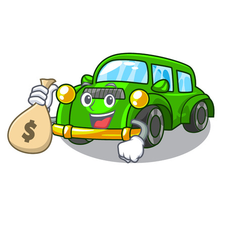 With money bag classic car isolated in the cartoon vector illustration Illustration