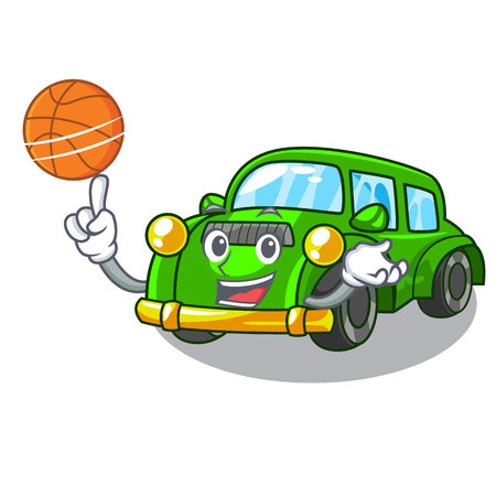 With basketball classic car isolated in the cartoon vector illustration