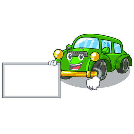 With board classic car isolated in the cartoon vector illustration