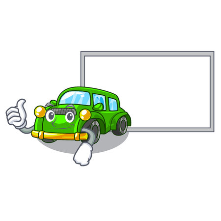 Thumbs up with board classic car isolated in the cartoon vector illustration