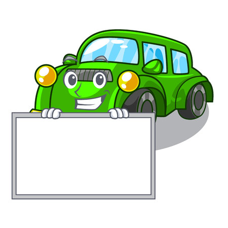 Grinning with board classic car isolated in the cartoon vector illustration