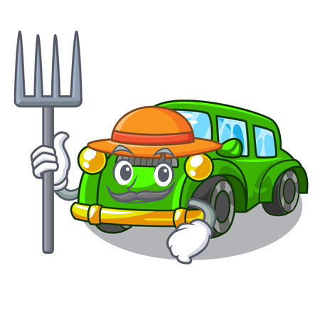Farmer classic car isolated in the cartoon vector illustration
