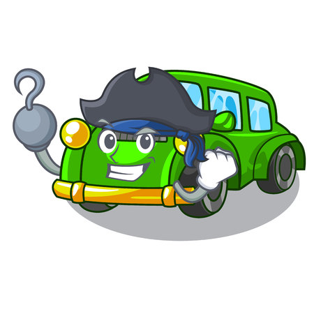 Pirate classic car isolated in the cartoon vector illustration