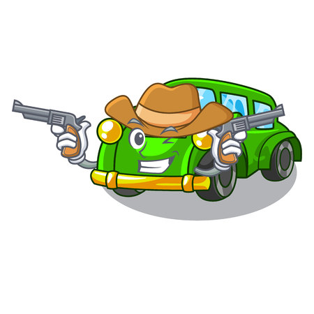 Cowboy classic car isolated in the cartoon vector illustration