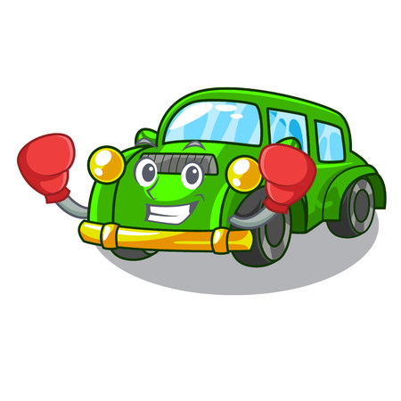 Boxing classic car isolated in the cartoon vector illustration Illustration