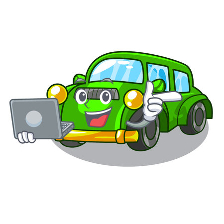 With laptop classic car isolated in the cartoon vector illustration