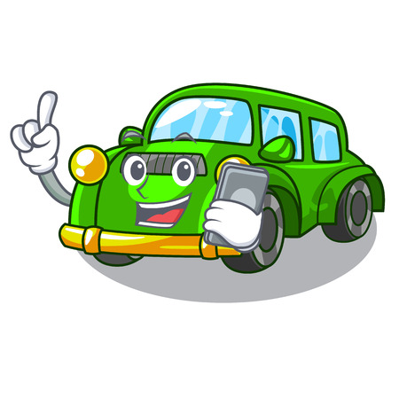 With phone classic car isolated in the cartoon vector illustration