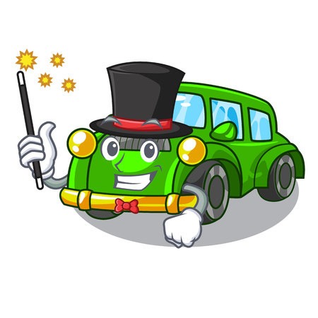 Magician classic car toys in cartoon shape vector illustration