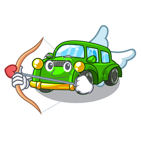 Cupid classic car isolated in the cartoon vector illustration