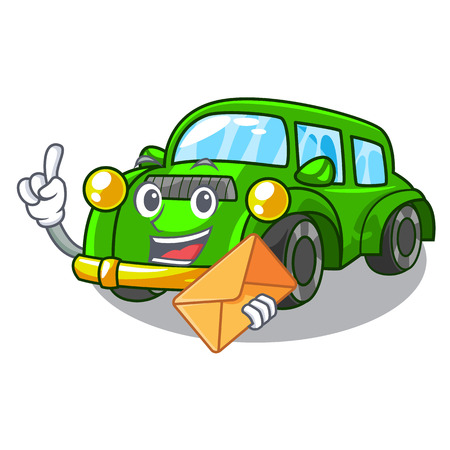 With envelope miniature classic car in shape characters vector illustration