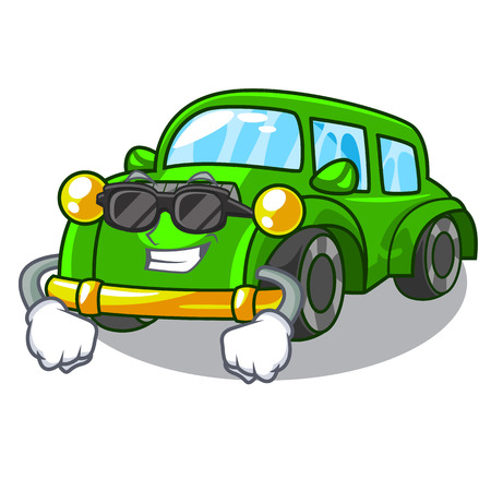 Super cool miniature classic car in shape characters vector illustration