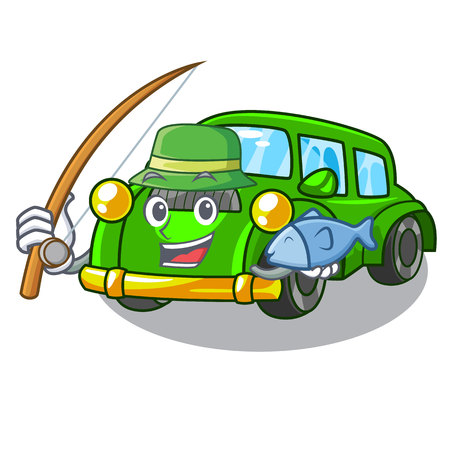Fishing classic car in the shape mascot vector illustration