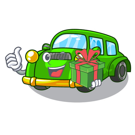 With gift classic car in the shape mascot vector illustration