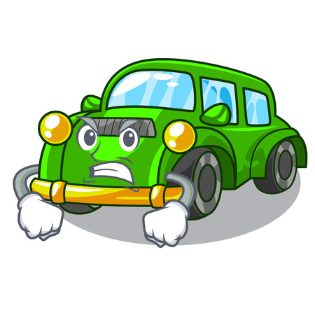 Angry classic car in the shape mascot vector illustration