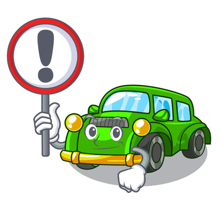 With sign classic car isolated in the cartoon vector illustration
