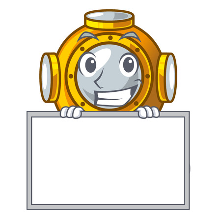 Grinning with board helmet diving in the mascot shape vector illustration