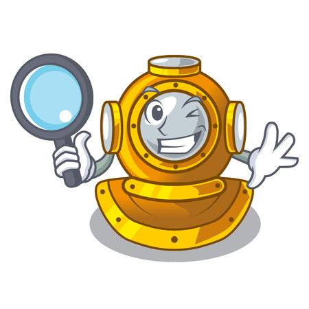 Detective helmet diving isolated in the cartoon vector illustration