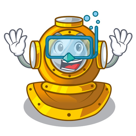 Diving helmet diving isolated in the cartoon vector illustration