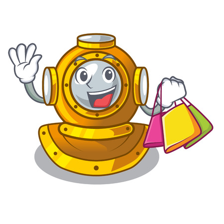 Shopping helmet diving isolated in the cartoon vector illustration