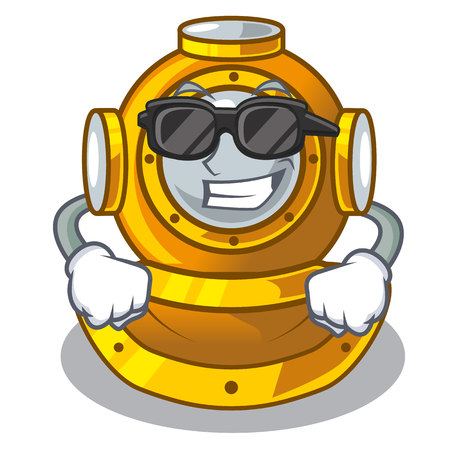 Super cool helmet diving isolated in the cartoon vector illustration