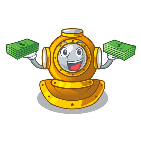 With money bag shape diving helmet character in closet vector illustration