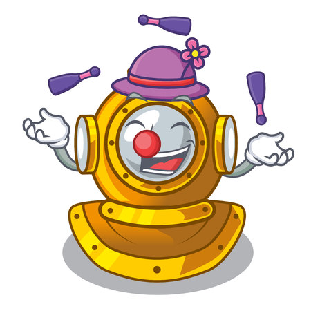 Juggling diving helmet on a cartoon table vector illustration Illustration