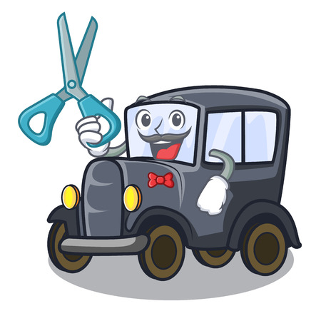Barber old car in the shape character vector illustration