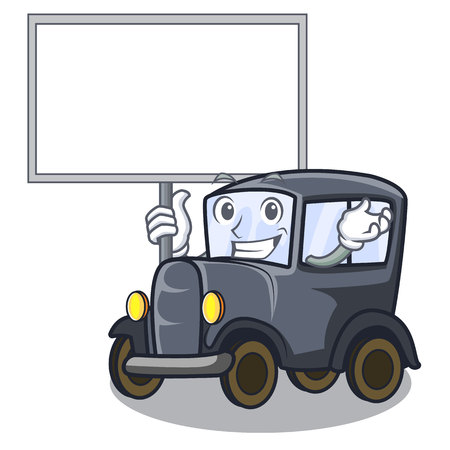 Bring board old car in the shape character vector illustration