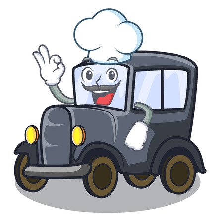 Chef old car isolated in the cartoon vector illustration