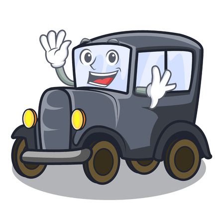 Waving old car isolated in the cartoon vector illustration Çizim