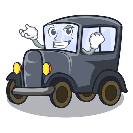 Successful old car isolated in the cartoon vector illustration Çizim