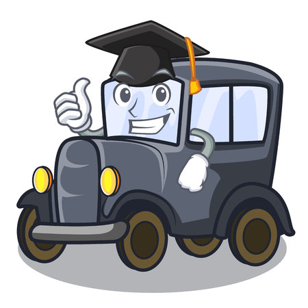 Graduation old car isolated in the cartoon vector illustration