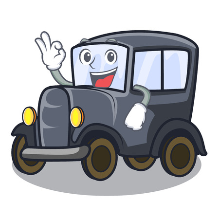 Okay old car isolated in the cartoon vector illustration Ilustrace