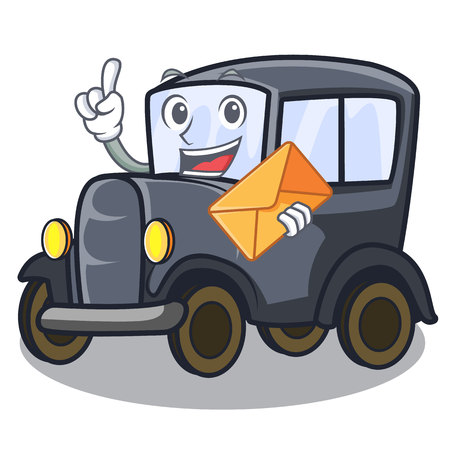 With envelope old car isolated in the cartoon vector illustration