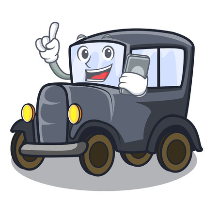 With phone old car in the shape character vector illustration
